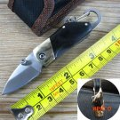 Stainless Steel Mini folding knife with carabiner hanging buckle hike Outdoor Camp Survive