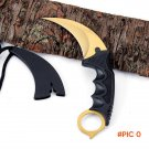 Golden colors csgo Karambit Neck Knife with Sheath Tiger Tooth Real game Knife Hunting kni