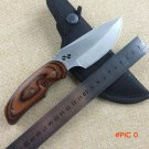 WTT Brand Fixed Hunting Knife With 440C Blade Wood Handle Nylon Scabbard Tactical Survival