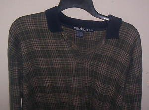NAUTICA MENS PULLOVER KNIT LONG SLEEVE PLAID SHIRT LARGE L