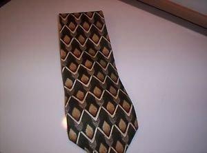 Bosa Men's Green Golden Tan  White Zig Zag Lines Silk Tie Necktie