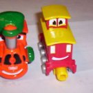TONKA MAISTO CHUCK TOWN EXPRESS TRAIN ENGINE AND CABOOSE PLASTIC MINI TRAIN CARS