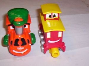 TONKA MAISTO CHUCK TOWN EXPRESS TRAIN ENGINE AND CABOOSE PLASTIC MINI TRAIN CARS