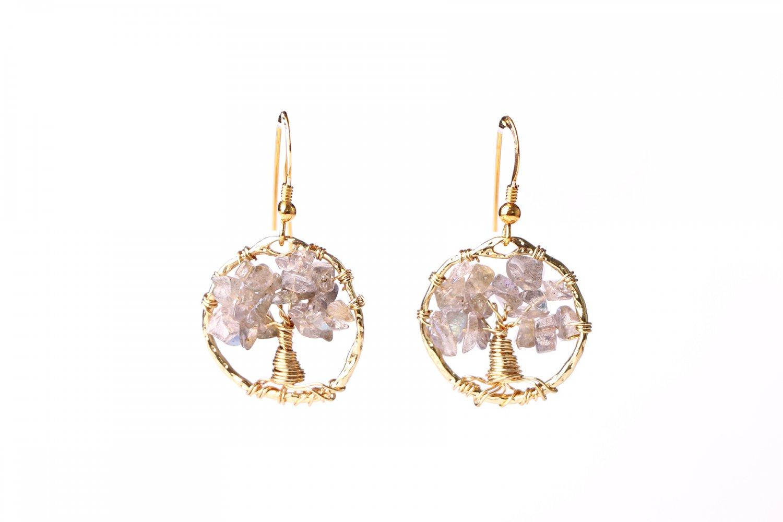 Labradorite tree of life earrings