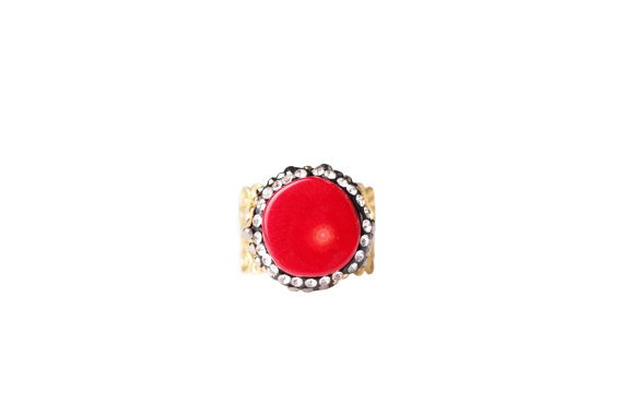 Magnolia Red Coral Lace Ring