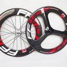 carbon bike wheels front 3 spoke wheel rear 88mm 700C clincher road/track wheels