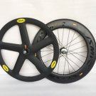 Carbon Track Bike Wheels Front 5 Spoke Wheel Rear 88mm Clincher road bike Wheel