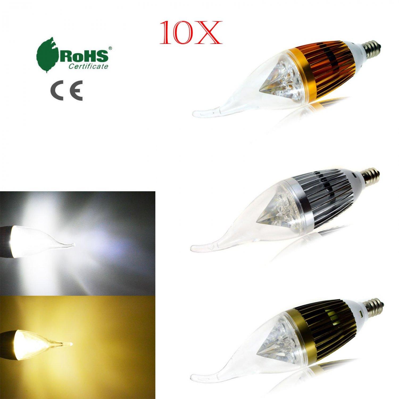 10x E12 Candelabra 110V Dimmable 4W 8W 12W High Power LED Chandelier Light Bulb