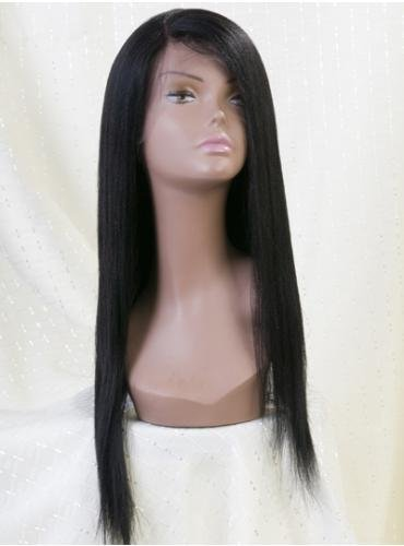22 Inches Silky Straight  Human Hair natural black Swiss Lace Full Lace Wigs