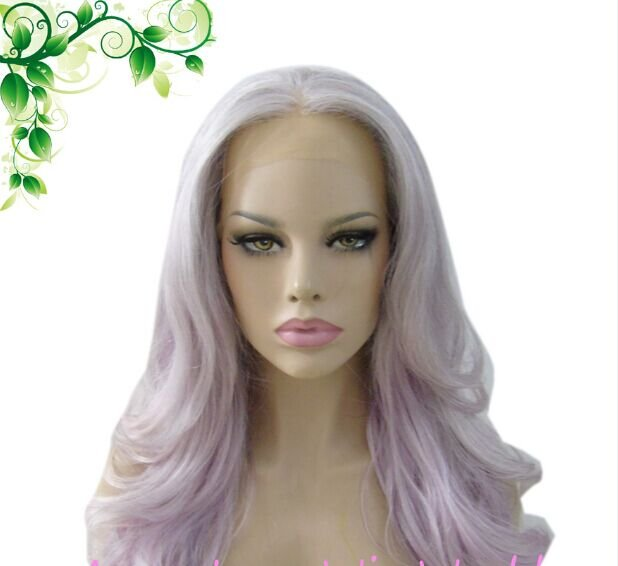 FREE SHIPING Synthetic Two Tone Gray Pink 20inch Lace Front wig