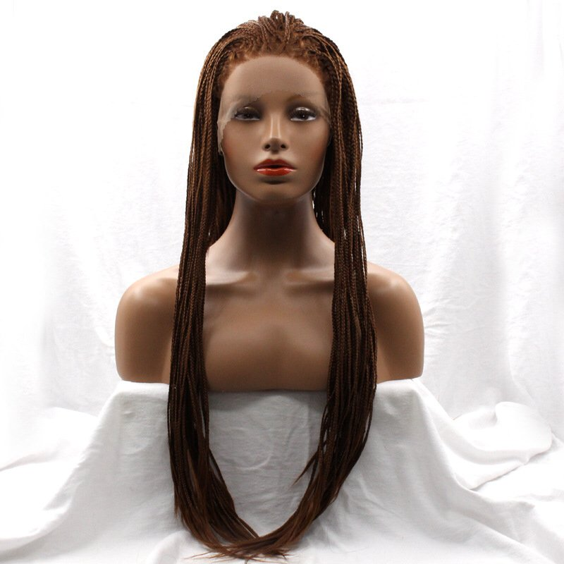 Fashion Handmade Synthetic Braided lace front wigs long straight for women