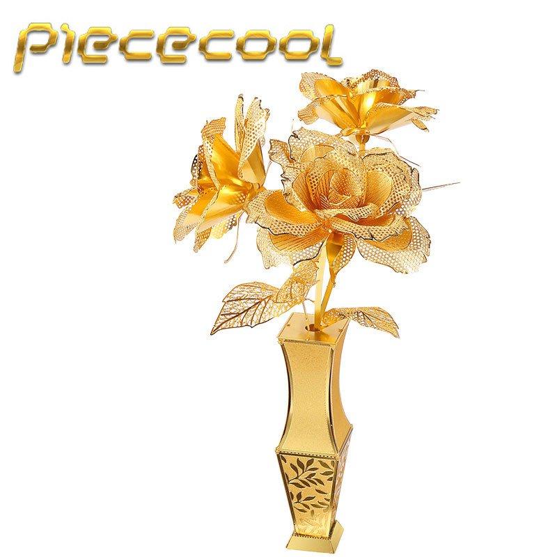 Lover Gift Piececool 3D Metal Puzzle Golden Rose Building Kits P050G DIY 3D Laser Cut Models Toys
