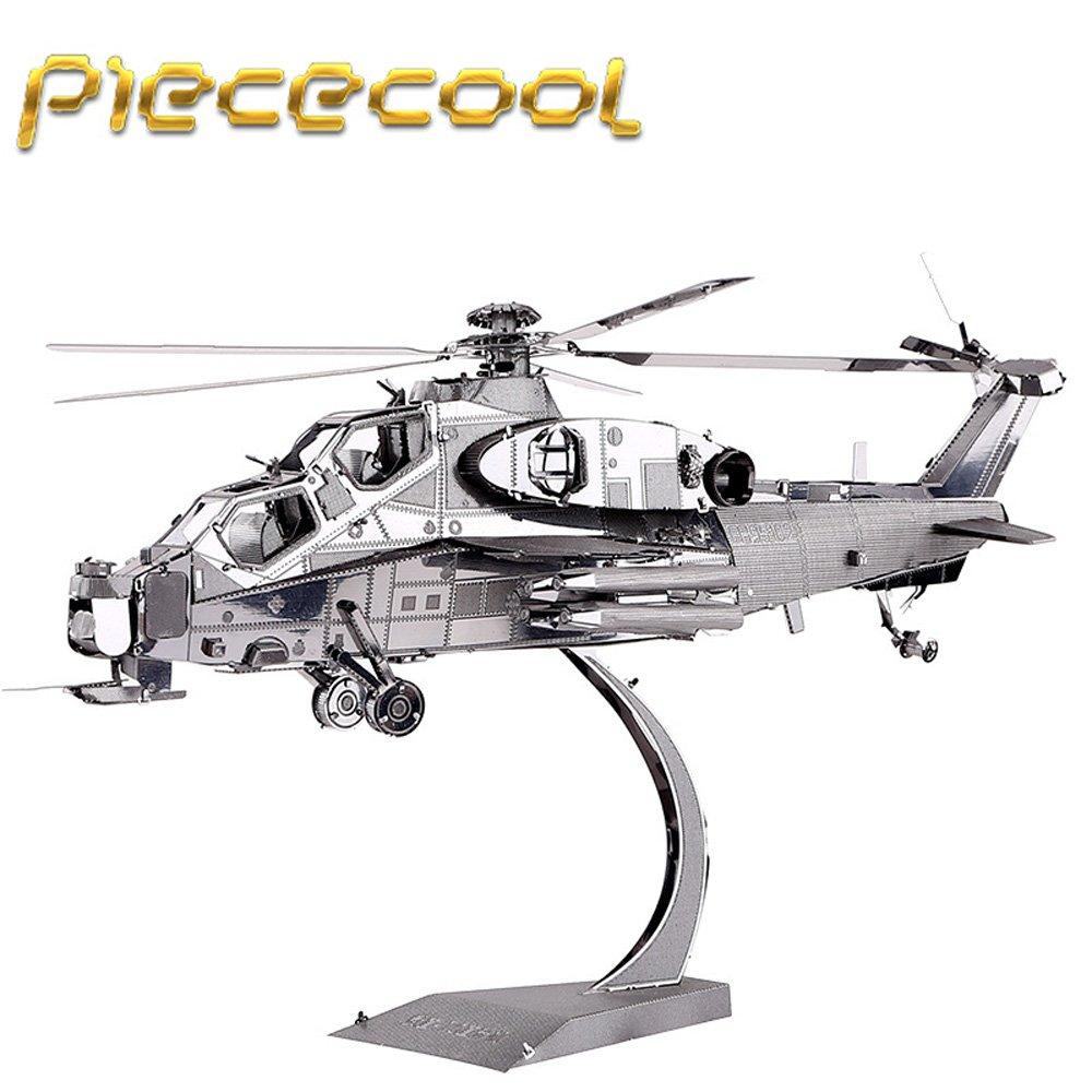 Piececool 3D Metal Puzzle Wuzhi-10 Helicopter Building Kits P048S DIY 3D Laser Cut Models Toys