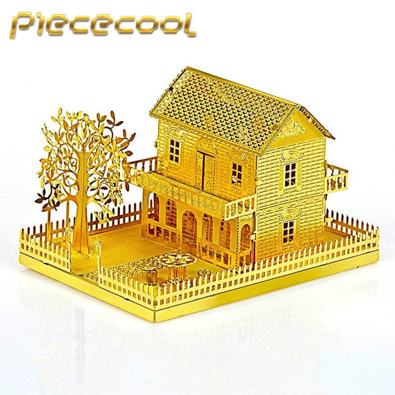 Piececool 3D Metal Puzzle Mini Villa House Building Kits P028G DIY 3D Laser Cut Models Toys
