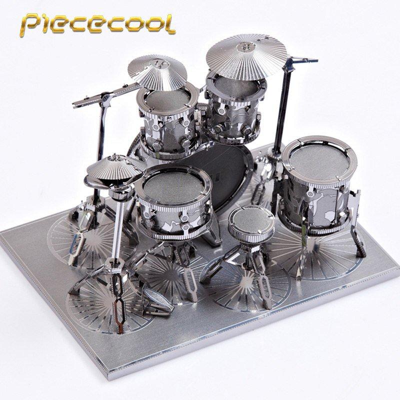Piececool 3D Metal Puzzle Drum Set Musical Instruments Building P032S DIY 3D Laser Cut Models Toys