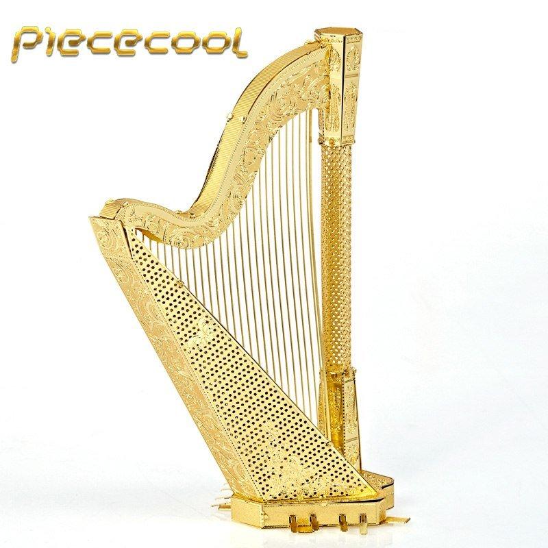 Piececool 3D Metal Puzzle Harp Musical Instruments Building P025G DIY 3D Laser Cut Models Toys