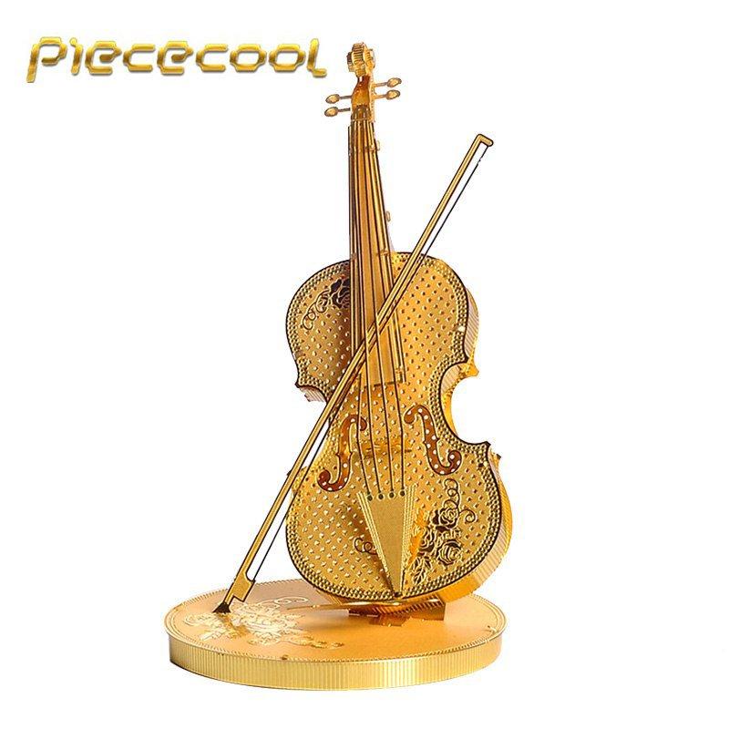Piececool 3D Metal Puzzle Violin Musical Instruments Building P023G DIY 3D Laser Cut Models Toys