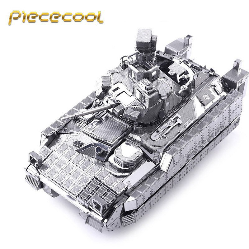 Piececool 3D Metal Puzzle M2A3 Bradley IFV Tank Building Kits P054S DIY 3D Laser Cut Models Toys