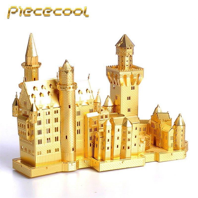Piececool 3D Metal Puzzle Neuschwanstein Castle Building P013G DIY 3D Laser Cut Models Toys - Gold