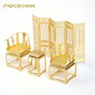 Piececool 3D Metal Puzzle Antique Furniture Desk Chair P029G DIY 3D Laser Cut Models Toys - Gold