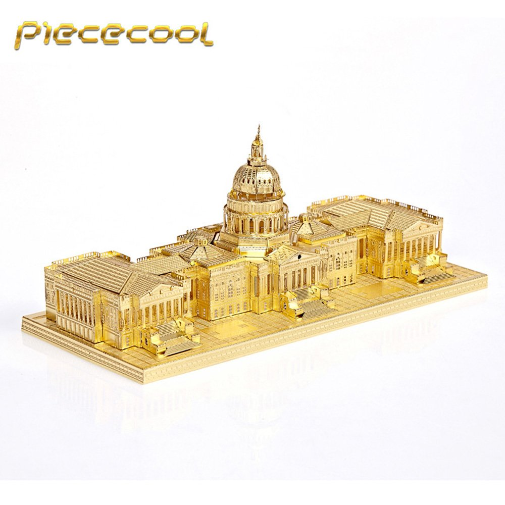 Piececool 3D Metal Puzzle US Capitol USC Building Kits P015G DIY 3D Laser Cut Models Toys - Gold
