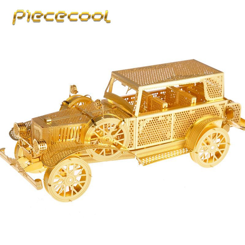 Piececool 3D Metal Puzzle Classic Vintage Car Building P042G DIY 3D Laser Cut Models Toys For Audit
