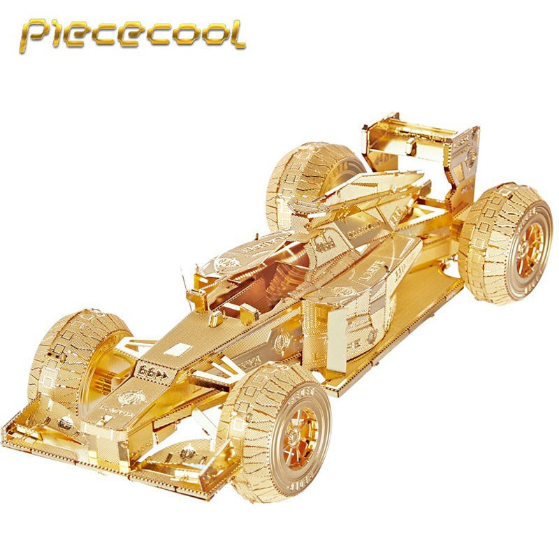 Piececool 3D Metal Puzzle F1 Racing Car P052G DIY 3D Laser Cut Models Toys For Audit - Gold