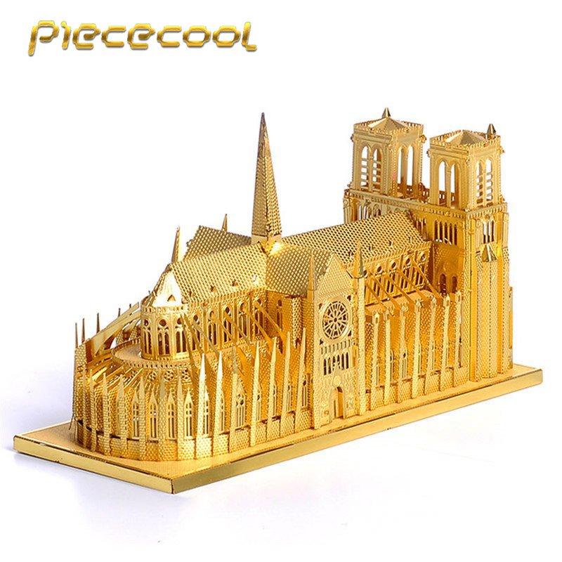 Piececool 3D Metal Puzzle Notre Dame Cathedral Paris P016G DIY 3D Laser Cut Models Toys For Audit