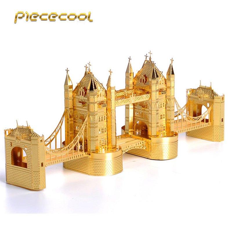 Piececool 3D Metal Puzzle London Tower Bridge P009G DIY 3D Laser Cut Assemble Models Toys For Audit