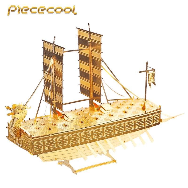 Piececool 3D Metal Puzzle Korea Geobukseon Boat P020G DIY 3D Laser Cut Models Toys For Audit