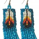 Metallic Teal Blue Long Seed Bead Banner Novelty Dangling Earrings