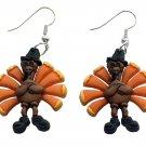 Turkey Thanksgiving in Pilgrim Hat Dangle Earrings