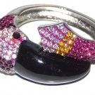Pink Flamingo Cuff Style Bracelet with Rhinestone
