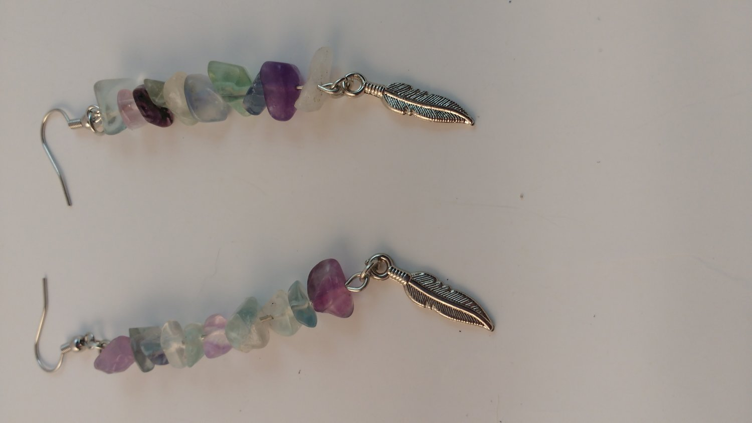 Handmade Rainbow Fluorite Earring with Silver Feather Charm with Surgical Steel Fish Hook