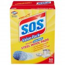 S.O.S. Scouring Scrubbing Soap Pads Steel Wool Reusable 50 Count - NEW!