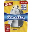 Glad Force Flex Drawstring Tall Kitchen Bags 13g, 140 ct. NEW