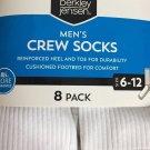 Berkley Jensen 8 pk Men's Crew Socks Size 6-12 Reinfored Heel Toe Cushioned