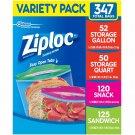 Ziploc Storage Bags, Various Sizes, 347 ct