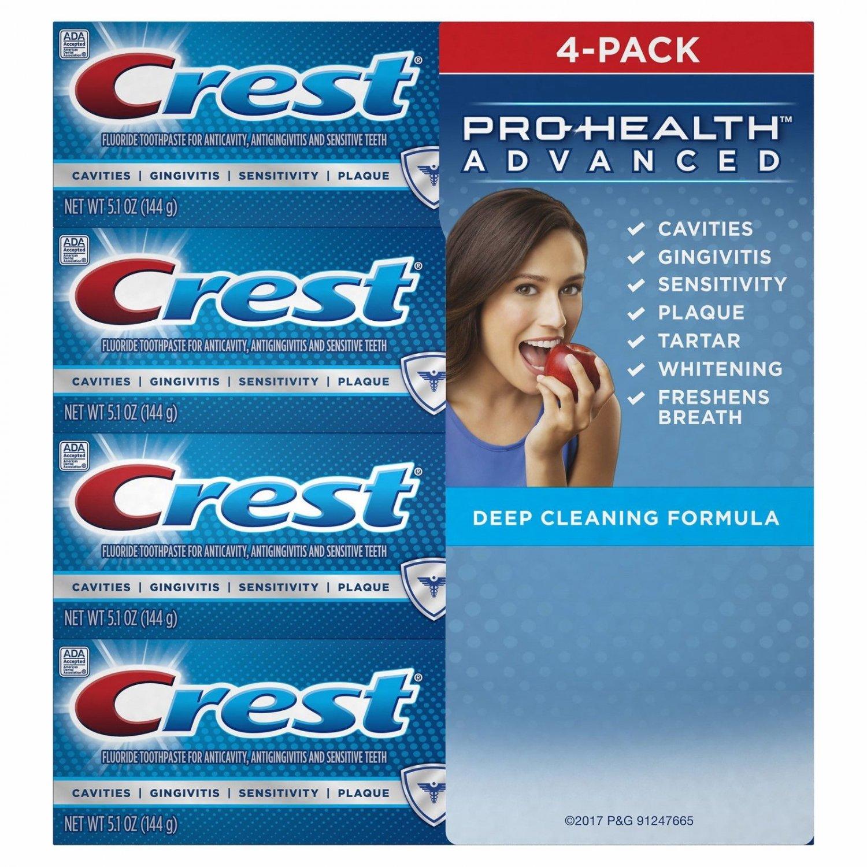 Crest Pro-Health Advanced Deep Clean Mint Toothpaste, 4 pk./5.1 oz