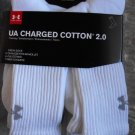 Under Armour Cotton Charged Crew Socks White 6 Pack LARGE