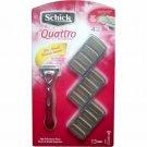 Schick Quattro For Women Razor With 12 Refill Cartridges NEW