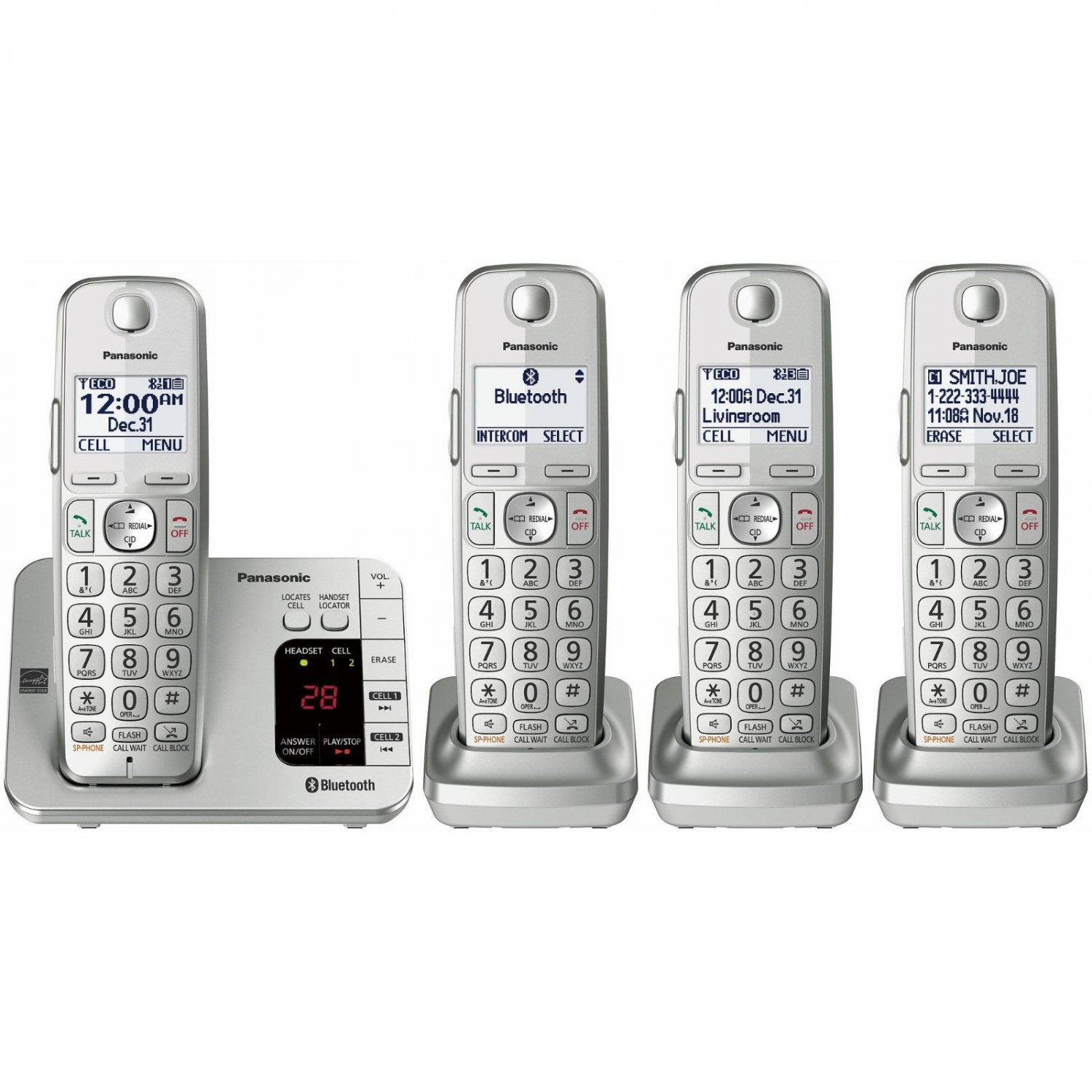 Panasonic Link2Cell DECT 6.0 PLUS 4-Handset Expandable Cordless Phone