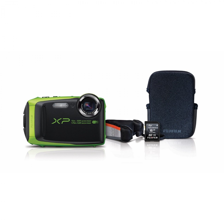 Fujifilm FinePix XP90 16.4MP Waterproof Wi-Fi Digital Camera Bundle/ 16GB LIME