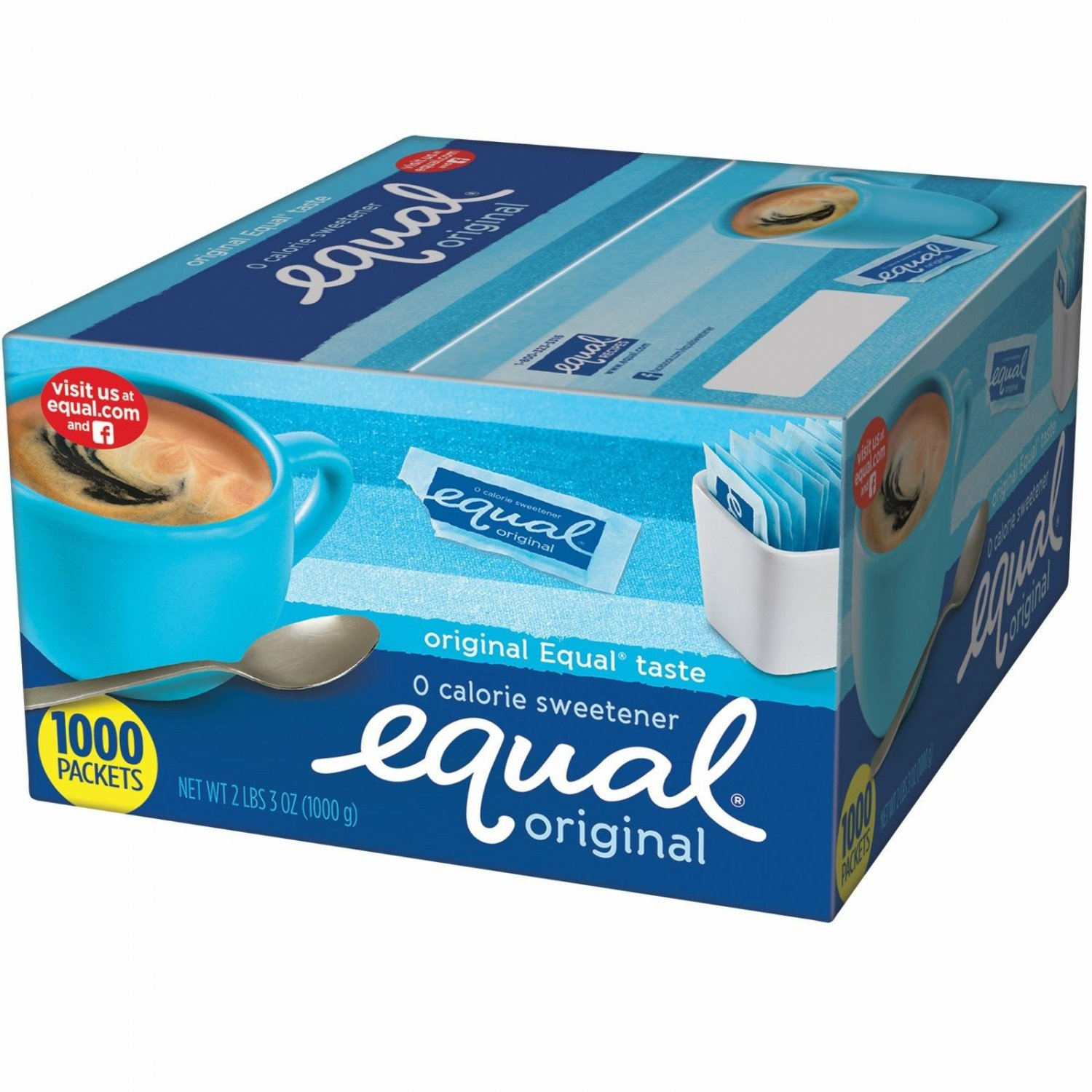 Equal 0 Calorie Sweetener, 2 lbs., 3 oz., 1,000 Packets