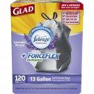 Glad 13-gal. ForceFlex OdorShield Lavender Drawstring Plastic Trash Bags, 120 ct