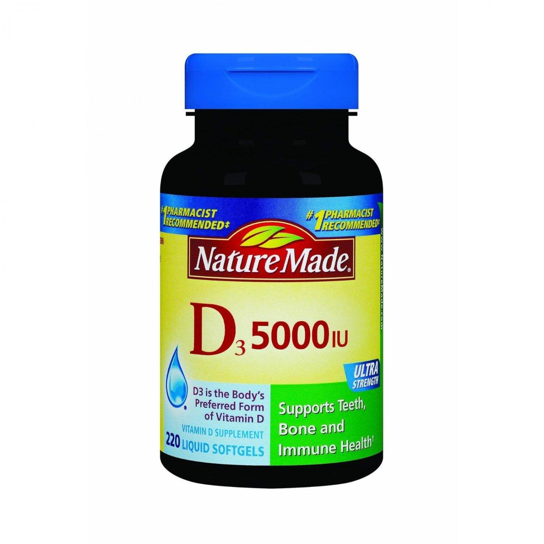 Nature Made Vitamin D3 5,000 IU Softgels, 220 ct