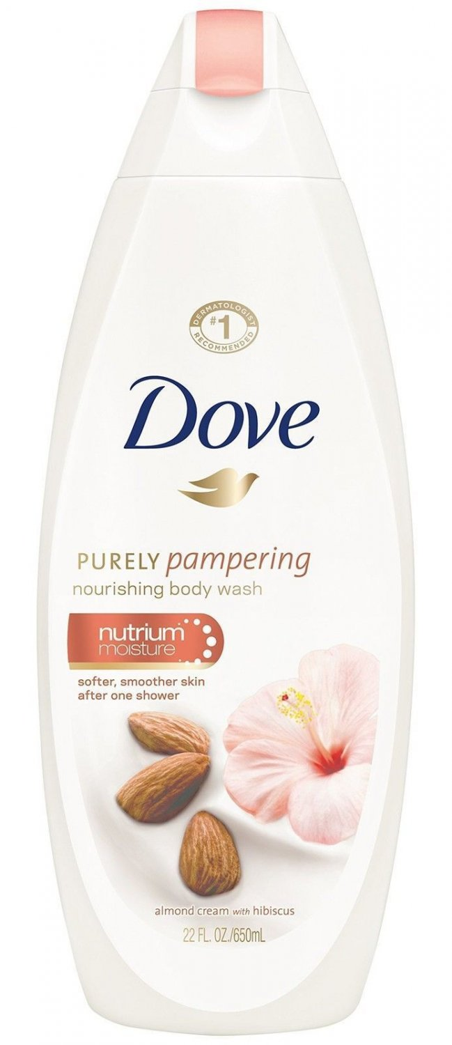 Dove Purely Pampering Body Wash, Almond Cream & Hibiscus 22oz NEW