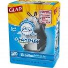 Glad ForceFlex OdorShield Tall Kitchen Drawstring Trash Bags 13 Gallon 120 Count