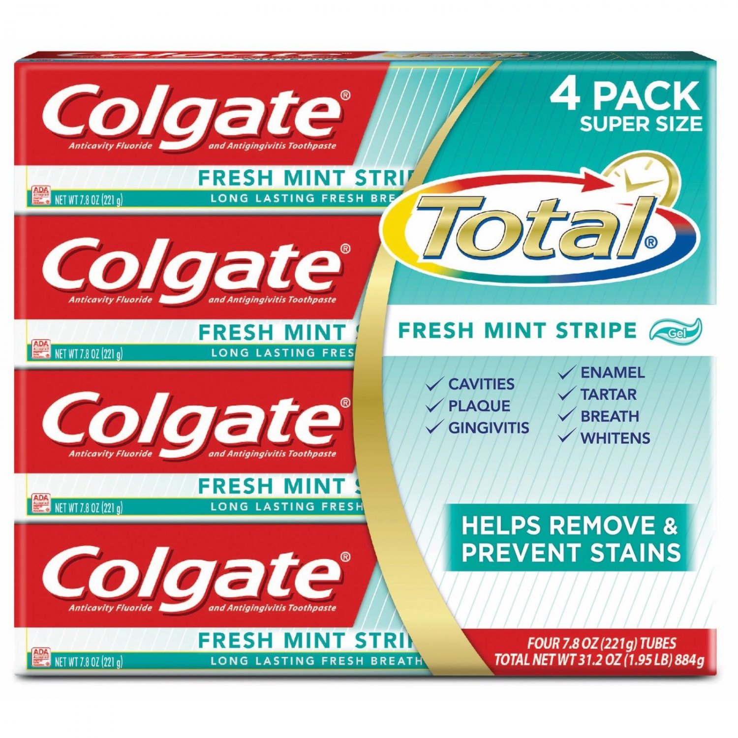Colgate Total Fresh Stripe Toothpaste, 4 pk./7.8 oz
