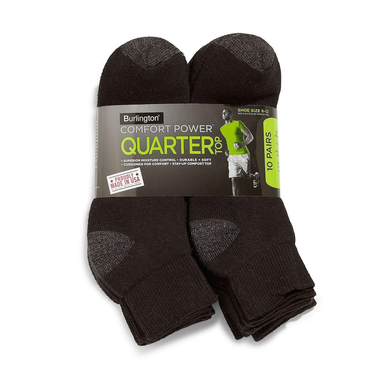 Burlington Men's 10 Pair Pack Comfort Power Quarter Top